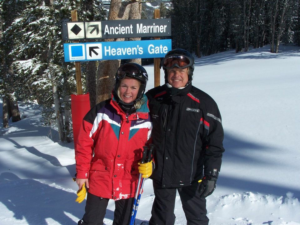 Dave and Nancy Marriner at the Ancient Marriner ski run named after them at the Yellowstone Club