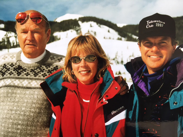 Dave and Nancy Marriner with Warren Miller at the Yellowstone Club