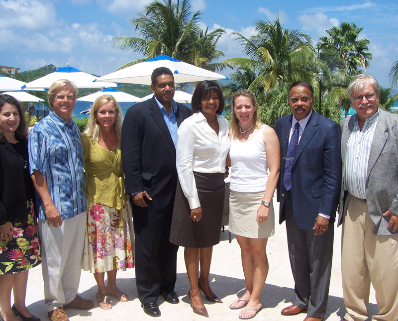 Dave and Nancy Marriner with USVI government officials and legendary golfer Annika Sorenstam