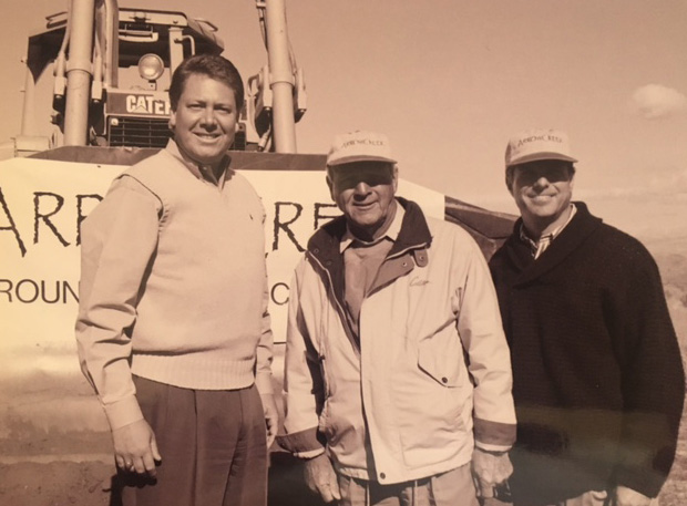 Dave Marriner, legendary golfers Arnold Palmer and Fuzzy Zoeller at the groundbreaking for ArrowCreek